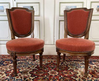 Paire de petites chaises à assise basse en...