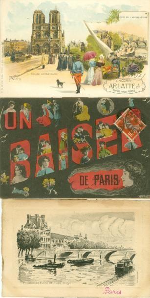 35 CARTES POSTALES ILLUSTRATIONS: Sur Paris....