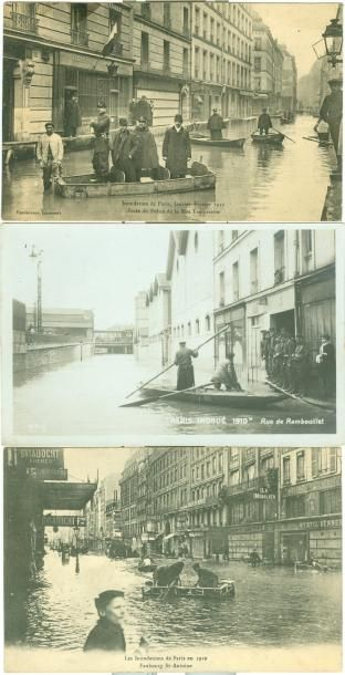 19 CARTES POSTALES INONDATIONS PARIS 1910:...