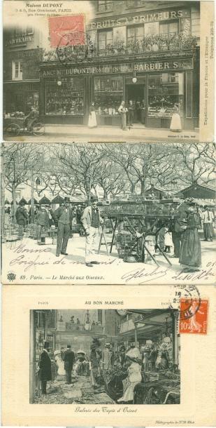 20 CARTES POSTALES COMMERCES & MARCHES: Paris....