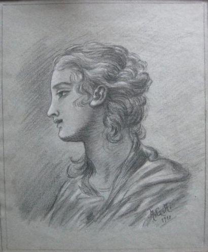 A.G.A. Portrait. Crayon et craie, signé et...