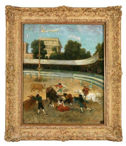Gustave Courbet (1819-1877) Course de taureaux 1854-1856 Huile sur toile signée en...