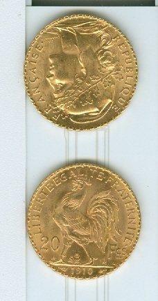 NUMISMATIQUE: Deux pièces de 20 Francs Or,...