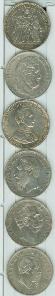 NUMISMATIQUE: Lot de 6 pièces de 5 Francs...