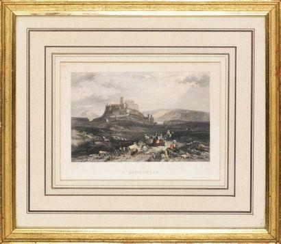 Trois gravures de vues de paysages: 1/ Corfou....