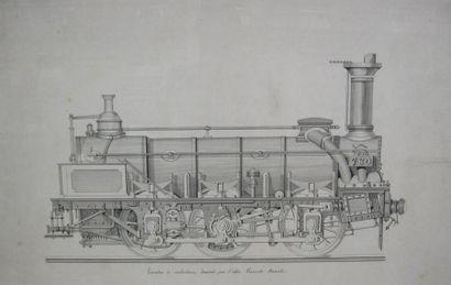Dessin. Locomotive à marchandise dessinée...