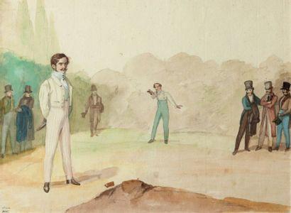 Ecole française du XIXème siècle.  Le duel....