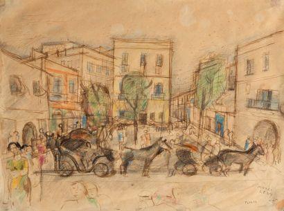Moses LEVY (1885-1968).  Vue de Tunis.  Dessin...