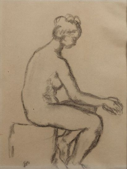Ecole du XXème siècle.  Femme nue assise....