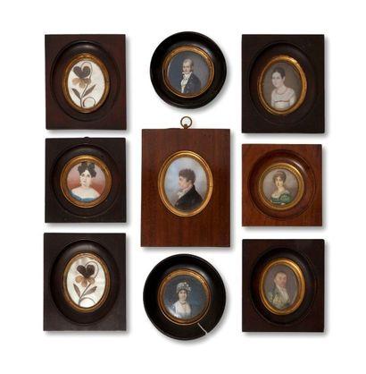 Ensemble de sept miniatures sur ivoire représentant...