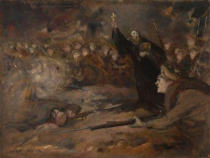 Lucien LANTIER (1879-1960).  Scène de guerre....