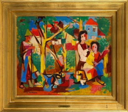 Charles WALCH (1896-1948).Les jardiniersHuile...
