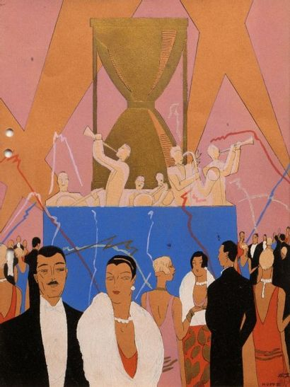 Vers 1925-1930.  Ensemble de trois estampes...