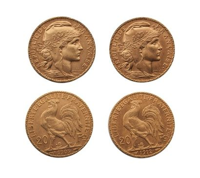 NUMISMATIQUE : Lot de deux pièces de 20Frs 1909 et 1912, Or, Marianne et au Coq,...