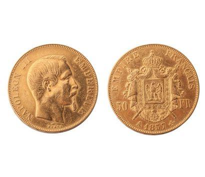 NUMISMATIQUE : 50 Francs (A) 1857, Or, Napoléon...