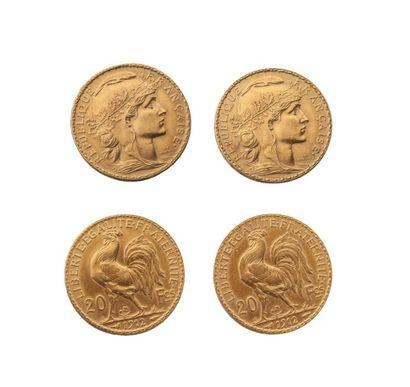NUMISMATIQUE : Lot de deux pièces de 20 Francs...