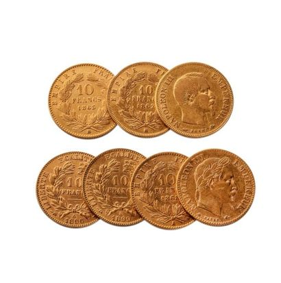 NUMISMATIQUE : Lot de sept pièces de 10 Francs...