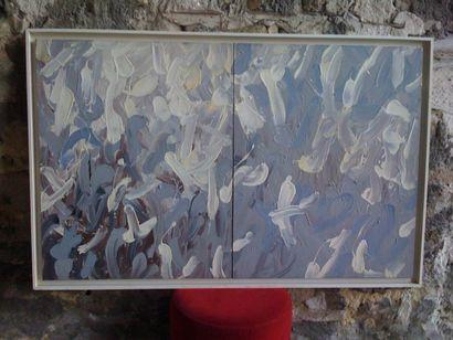 Huile sur toile, acrylique, abstraite à dominance...