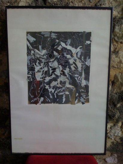 Lithographie abstraite à dominance noir.