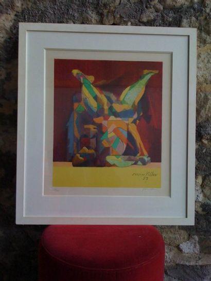 Lithographie abstraite de couleurs vives...