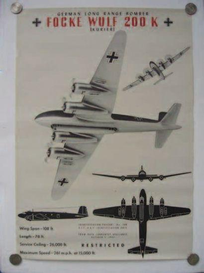 1 AFFICHE : Focke Wulf 200F. Affiche d'identification...