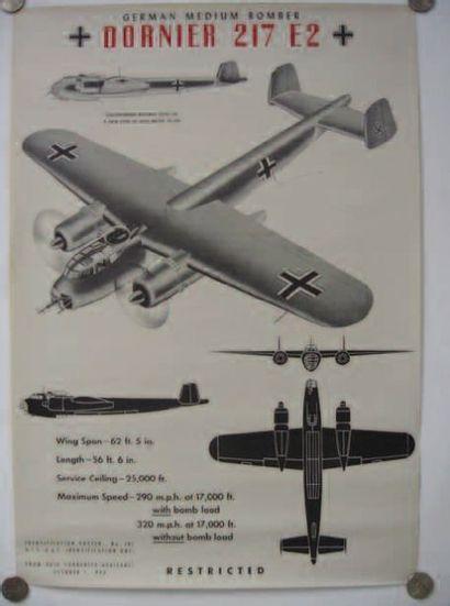 1 AFFICHE : Dornier 217 E2. Affiche d'identification...