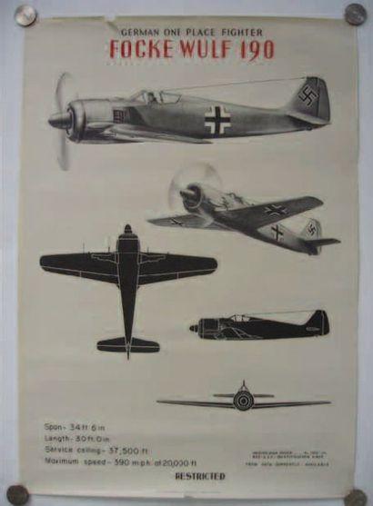 1 AFFICHE : Focke Wulf 190. Affiche d'identification...