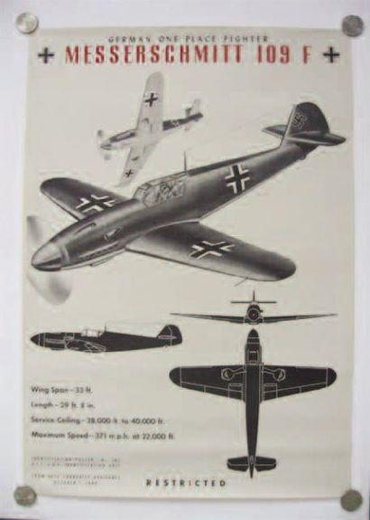 1 AFFICHE : Messerschmitt 109F. Affiche d'identification...