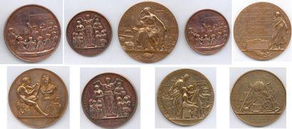Lot de 29 médailles et plaques en cuivre,...