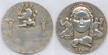 Lot de 50 médailles et plaques en cuivre,...