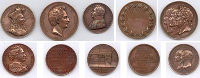 Lot de 35 médailles en cuivre, bronze et...