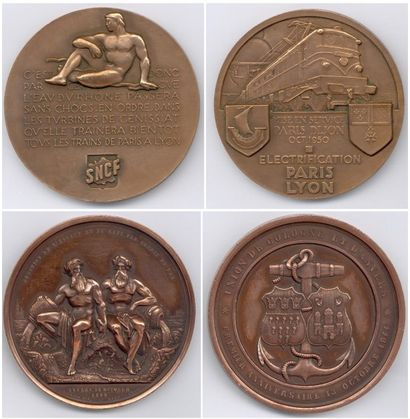 Lot de 10 médailles en cuivre, bronze et...