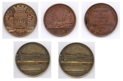 Lot de 62 médailles diverses en cuivre, bronze,...