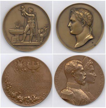 Lot de 7 médailles en bronze «PERSONNAGES...