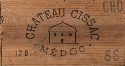 12 bouteilles de Château Cissac, Médoc, 1986,...