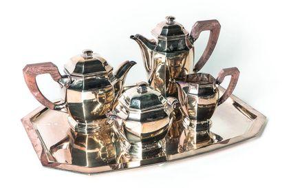 Service à café et thé en argent (925/1000e)...