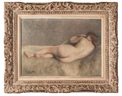 Paul SIEFFERT (1874-1957). Femme allongée. Huile sur toile, signée en bas à gauche,...