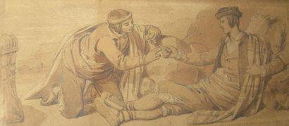DEVERIA Eugène (1805-1865). Deux fumeurs...
