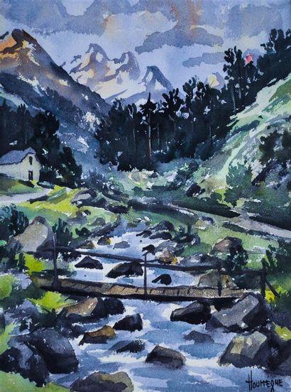 HOURREGUE Jean (1925-1982). Paysage de montagne....