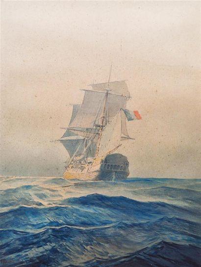 Ecole du XXème siècle Navire en mer. Crayon,...