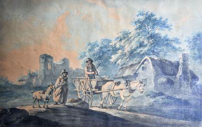 Ecole Anglaise du XIXème siècle. Route de...