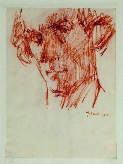 Jacques BUREL (1922-2000). Autoportrait....