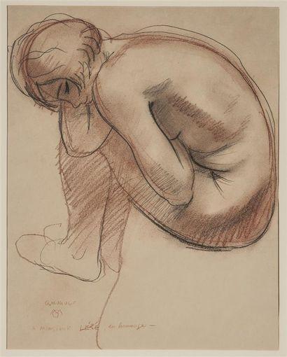 MUGUET Georges (1903-1988). Femme nue assise....