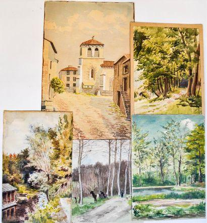 LANGLOIS Saint-Edme (1861-?). Paysages en...