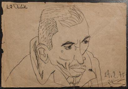 PHAI BUI Xuan (1920-1988). Portrait de vieil...