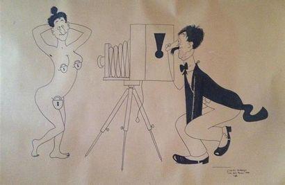 DUBOUT (d'après) Les 64 poses 1956 Deux dessins...