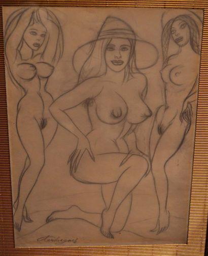 TOUCHAGUES Louis (1893-1974). Trois femmes...