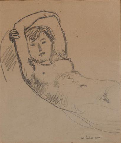LEBASQUE Henri (1865-1937). Nu allongé. Mine...