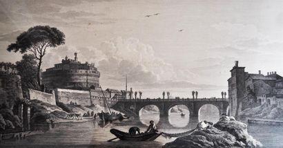VERNET, d'après. Le Pont Saint Ange. Gravure...