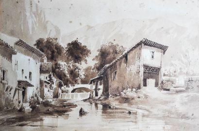 Ecole Française du XIXème siècle. Hameau...